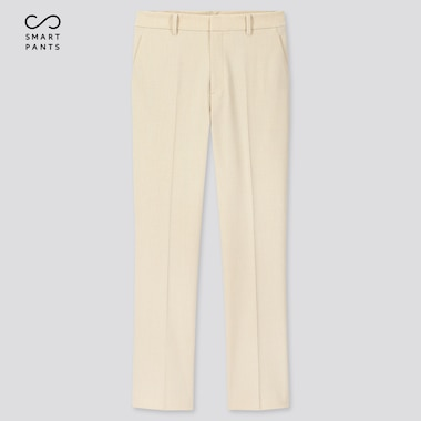 Women Smart 2-Way Stretch Ankle-Length Pants, Off White, Medium
