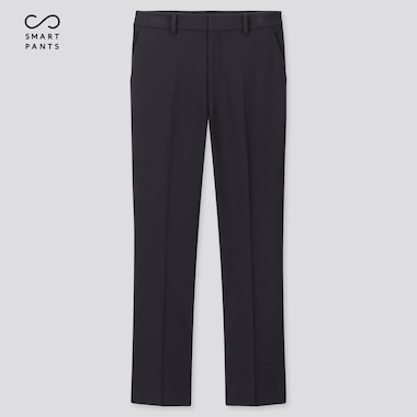 Women Smart 2-Way Stretch Solid Ankle-Length Pants, Navy, Medium
