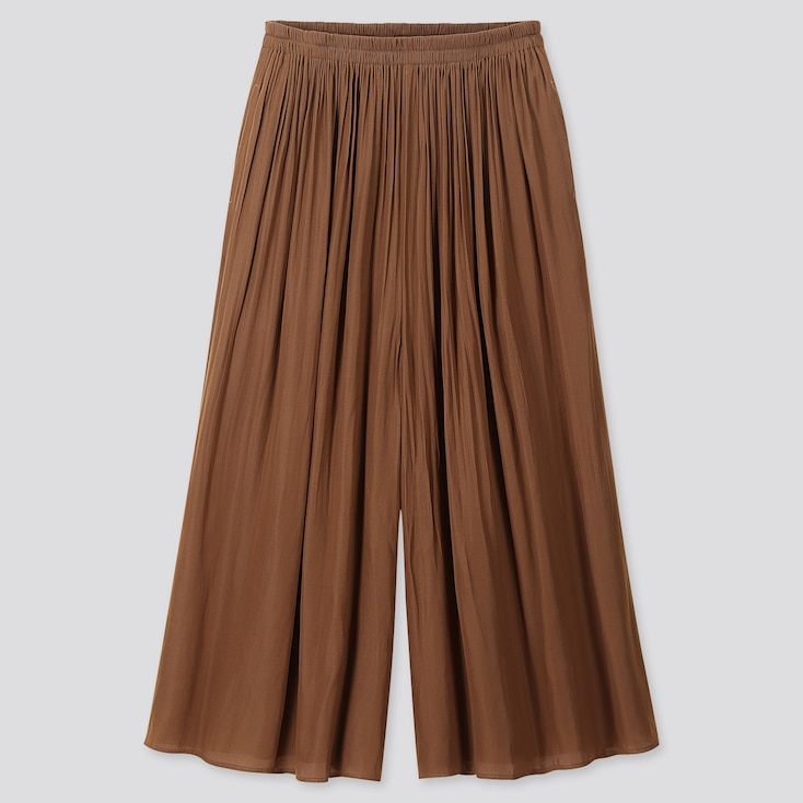 WOMEN PLEATED PANTS, BROWN, large