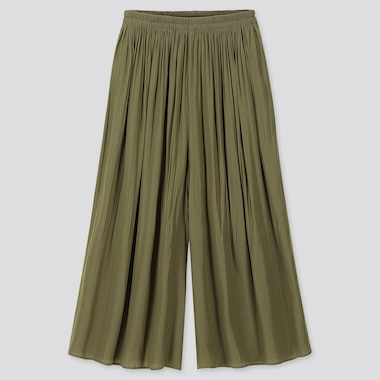 WOMEN PLEATED PANTS, OLIVE, medium