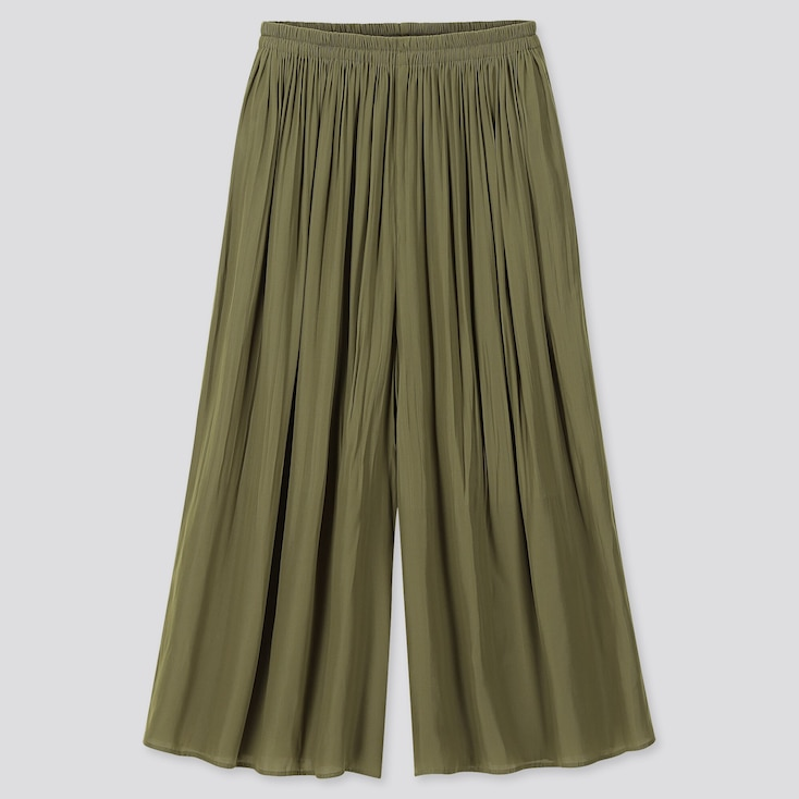 WOMEN PLEATED PANTS, OLIVE, large