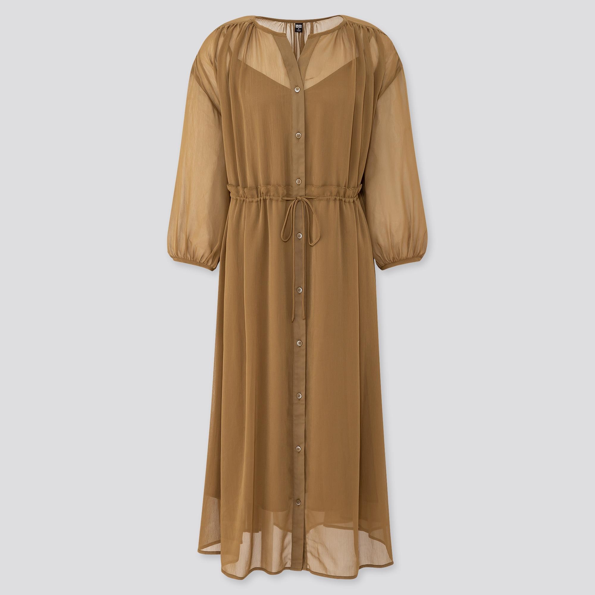 Women Chiffon 3/4 Sleeved Dress