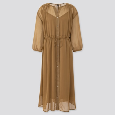 Women Chiffon 3/4 Sleeve Dress, Khaki, Medium
