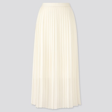 Women Chiffon Pleated Long Skirt, Off White, Medium