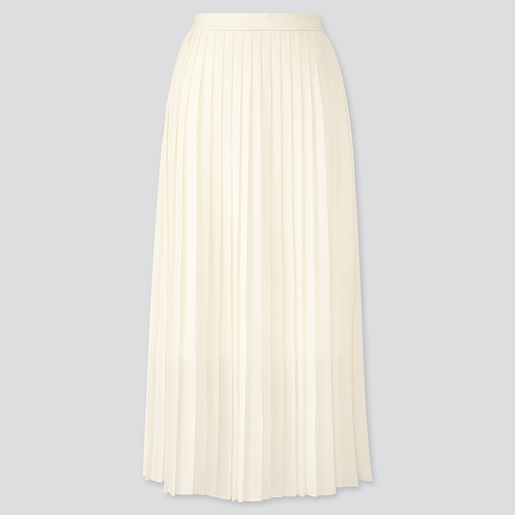 Women Chiffon Pleated Long Skirt, Off White, Large