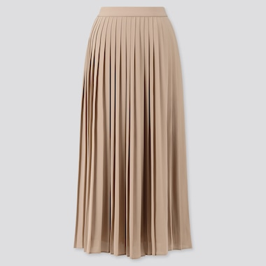 Women Chiffon Pleated Long Skirt (Online Exclusive), Beige, Medium