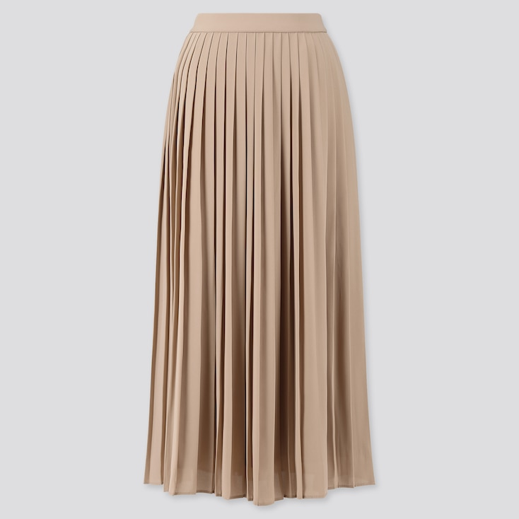 Women Chiffon Pleated Long Skirt (Online Exclusive), Beige, Large
