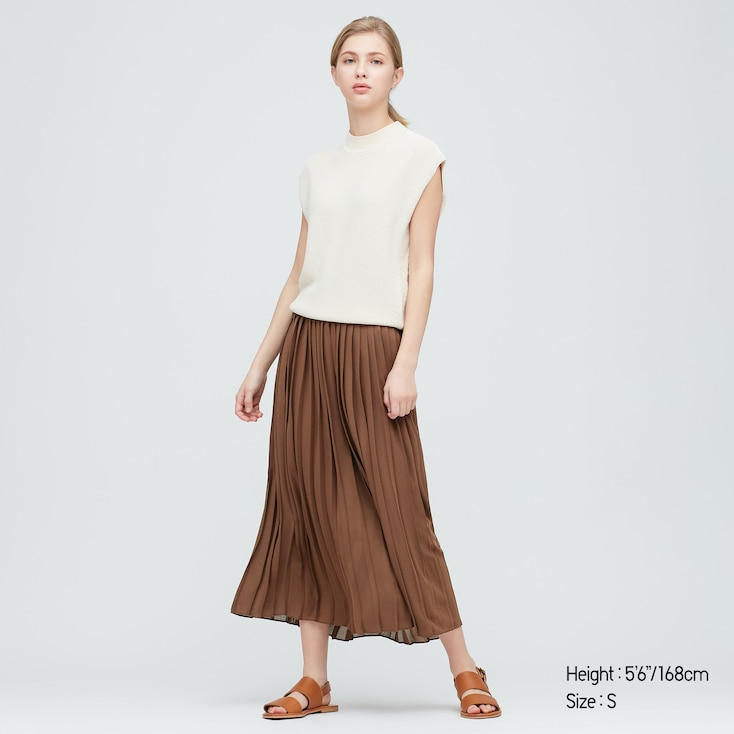 Women Chiffon Pleated Long Skirt (Online Exclusive), Dark Brown, Large