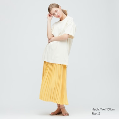 Women Chiffon Pleated Long Skirt (Online Exclusive), Yellow, Medium