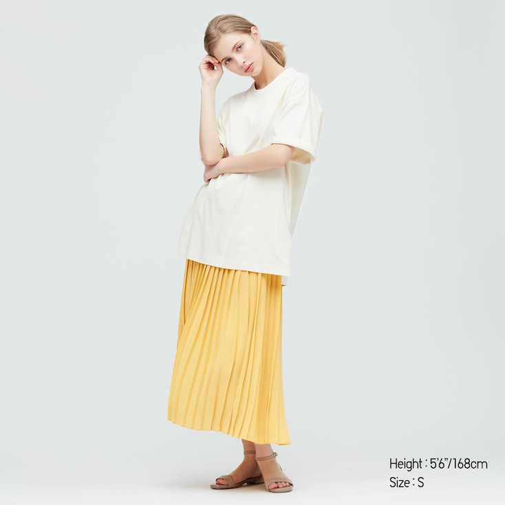 Women Chiffon Pleated Long Skirt (Online Exclusive), Yellow, Large