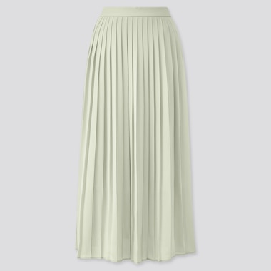 Women Chiffon Pleated Long Skirt (Online Exclusive), Green, Medium