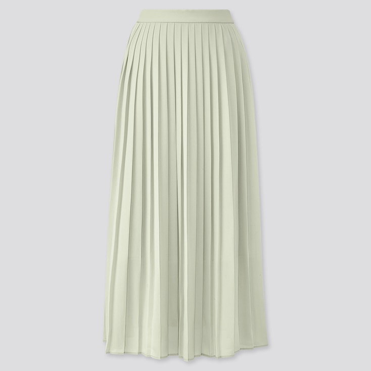 Women Chiffon Pleated Long Skirt (Online Exclusive), Green, Large