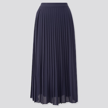 Women Chiffon Pleated Long Skirt (Online Exclusive), Navy, Medium