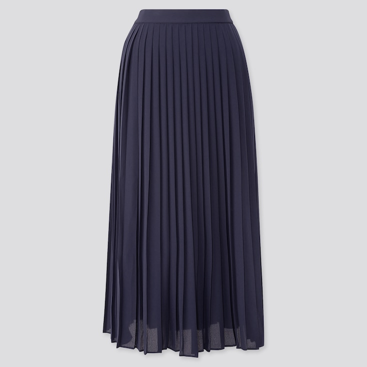 Women Chiffon Pleated Long Skirt (Online Exclusive), Navy, Large
