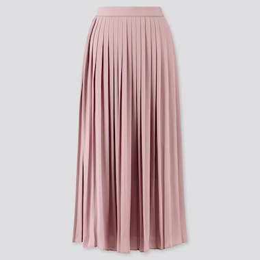 Women Chiffon Pleated Long Skirt (Online Exclusive), Purple, Medium