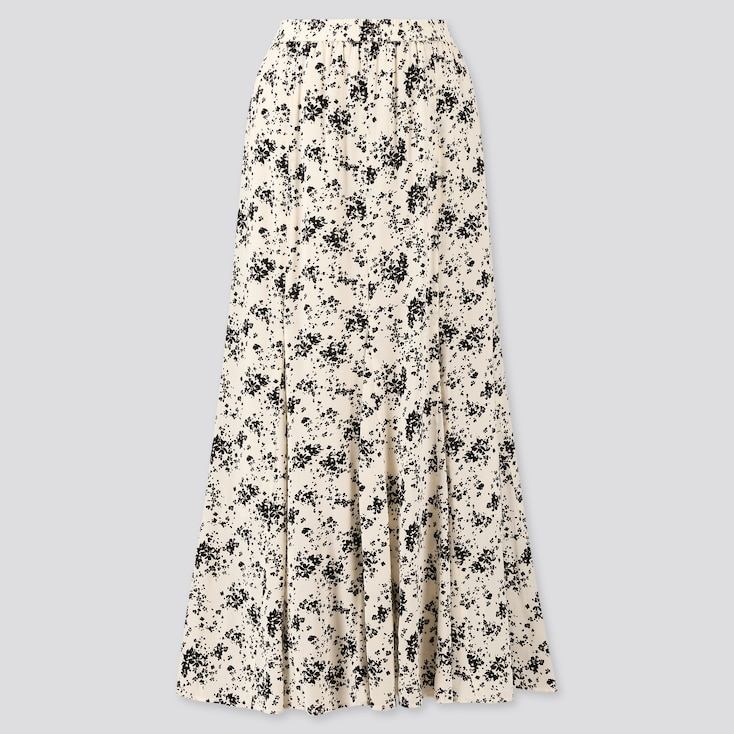 Women Viscose Printed Mermaid Long Skirt, Off White, Large