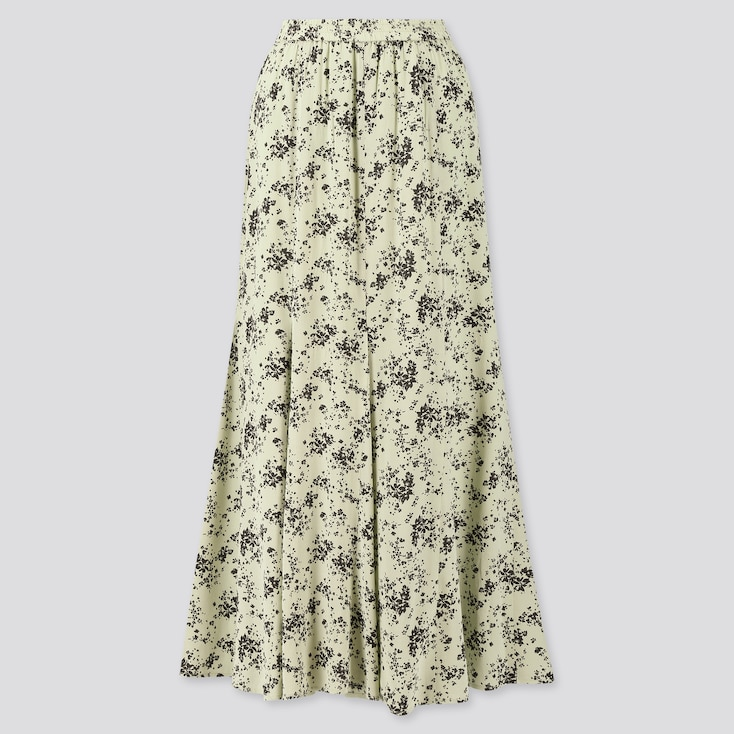 Women Viscose Printed Mermaid Long Skirt, Light Green, Large
