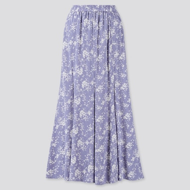 Women Viscose Printed Mermaid Long Skirt, Blue, Medium