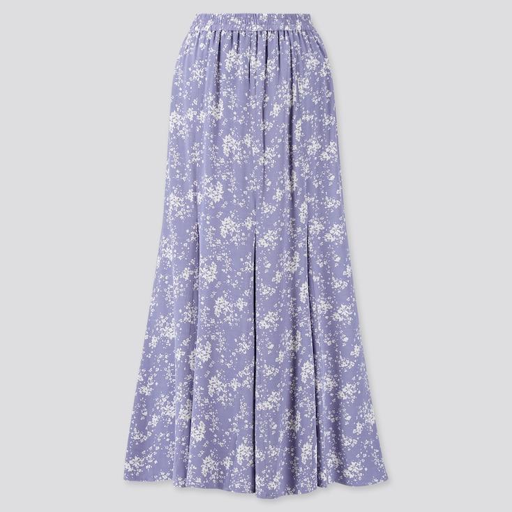 Women Viscose Printed Mermaid Long Skirt, Blue, Large