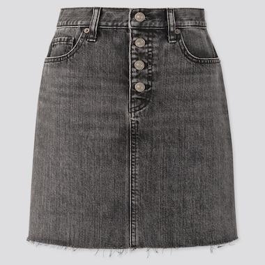 Women Denim Mini Skirt, Gray, Medium