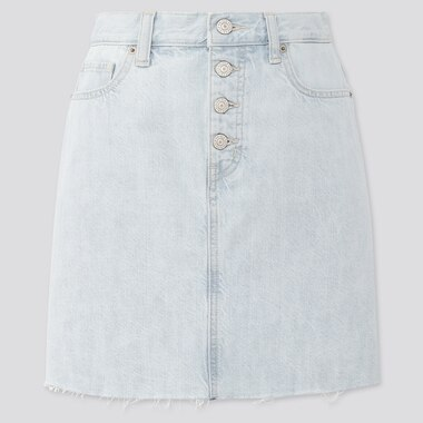 Women Denim Mini Skirt, Blue, Medium