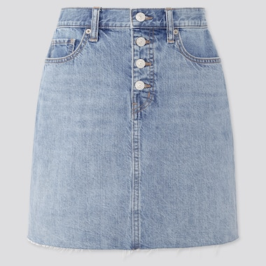 Women Denim Mini Skirt, Blue, Medium