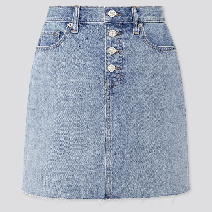 Women Denim Mini Skirt, Blue, Large