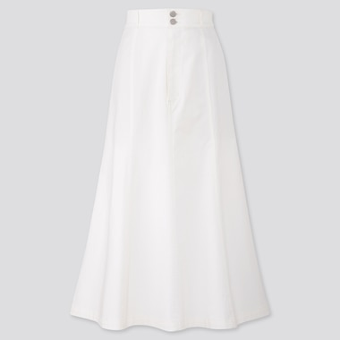 Women Cotton Mermaid High-Waisted Long Skirt, Off White, Medium
