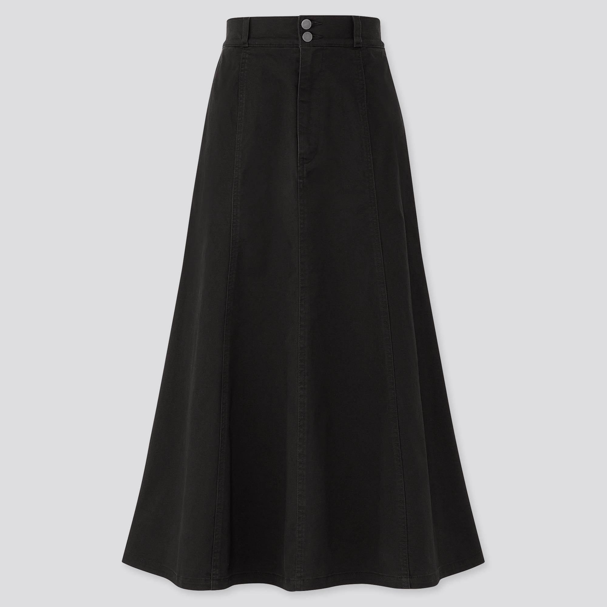 Women Cotton High Waisted Mermaid Maxi Skirt