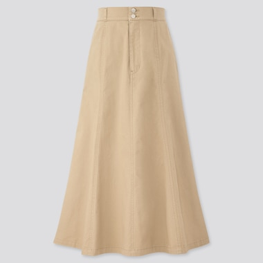 Women Cotton Mermaid High-Waisted Long Skirt, Beige, Medium