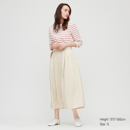 Women Belted Linen Rayon Long Skirt