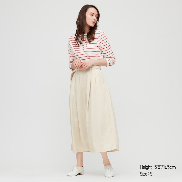 Women Belted Linen Rayon Long Skirt, Off White, Large