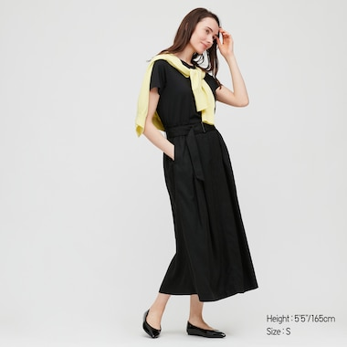 Women Belted Linen Rayon Long Skirt