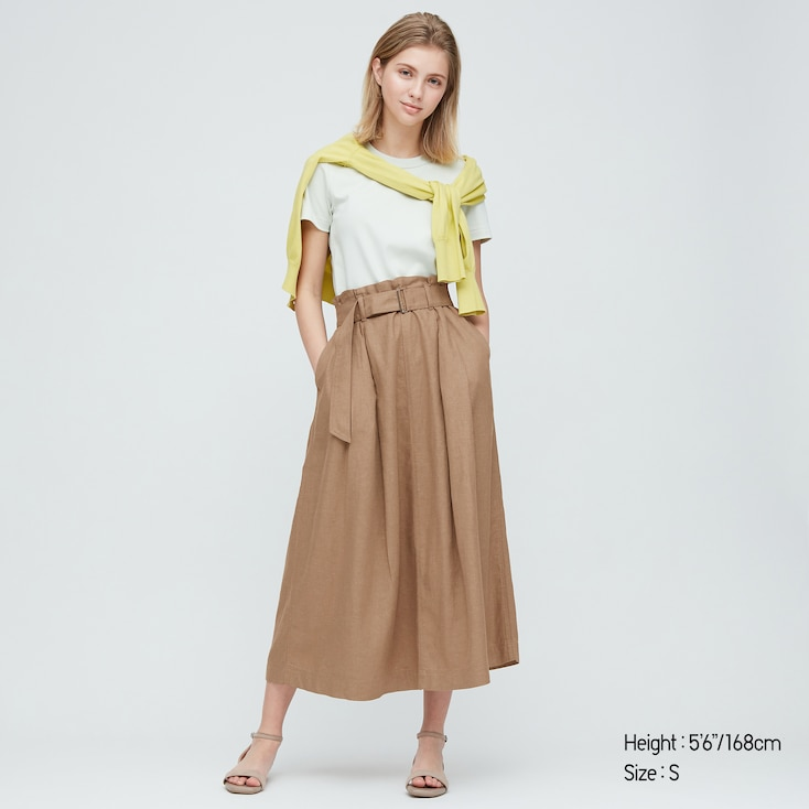 Women Belted Linen Rayon Long Skirt, Brown, Large