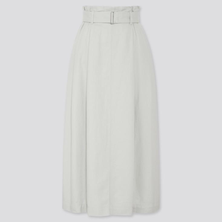 Women Belted Linen Rayon Long Skirt, Green, Large