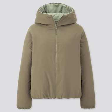 Women Light Padded Parka, Olive, Medium