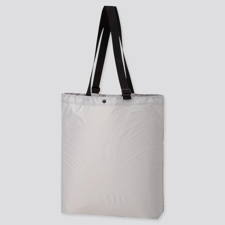 Lightweight Pocketable Tote Bag, Light Gray, Large