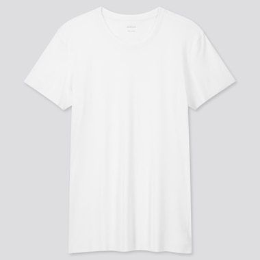 Men Airism Micro Mesh Crew Neck Short-Sleeve T-Shirt, White, Medium