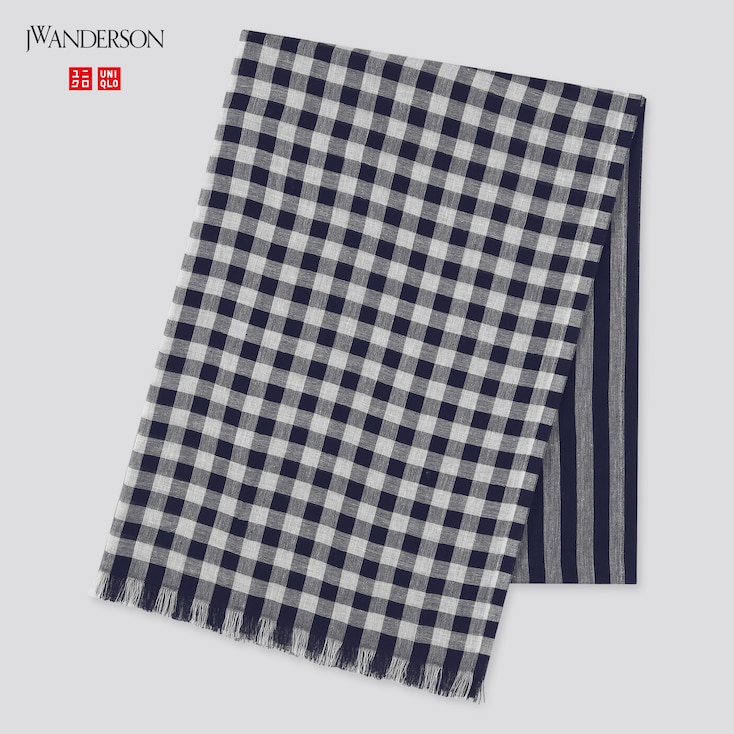 Cotton Linen Stole (Jw Anderson), Navy, Large