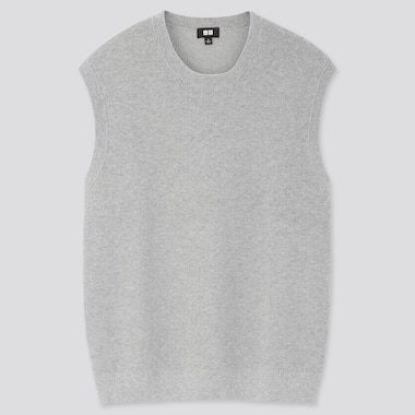 Men Oversized Crew Neck Vest, Gray, Medium