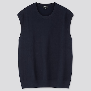 Men Oversized Crew Neck Vest, Navy, Medium