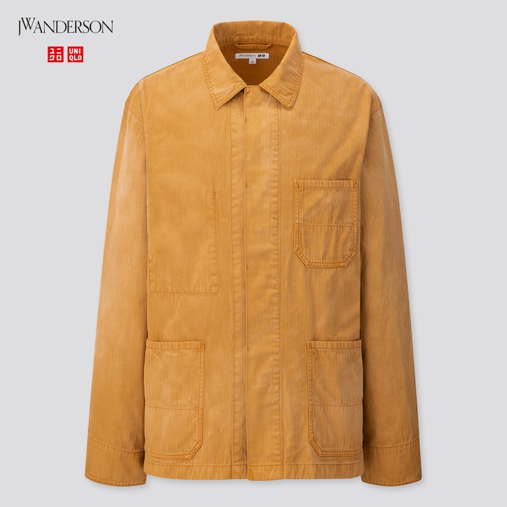Men Washed Cotton Work Jacket (Jw Anderson), Brown, Large