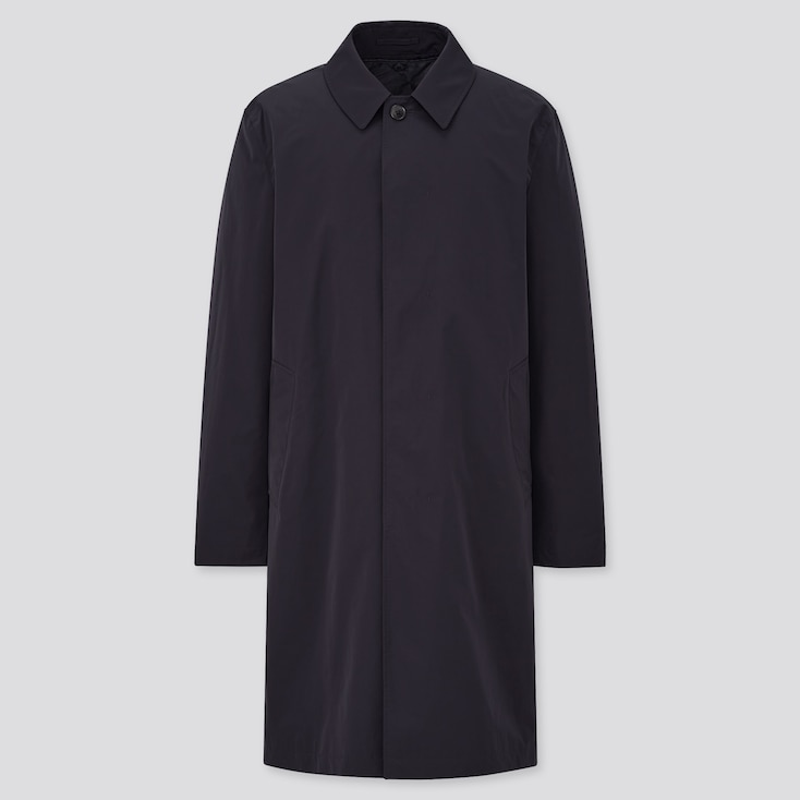 Men 2-Way Single Breasted Coat, Navy, Large