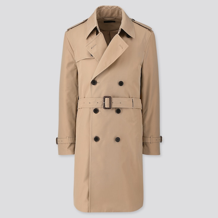 Men Trench Coat, Beige, Large