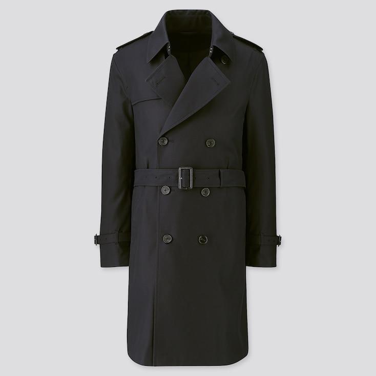Men Trench Coat, Navy, Large