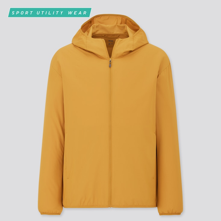 Men Pocketable Uv Protection Parka, Yellow, Large