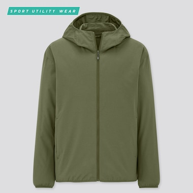 Men Pocketable Uv Protection Parka, Olive, Medium