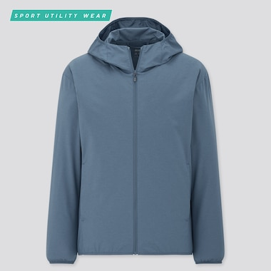 Men Pocketable Uv Protection Parka, Blue, Medium