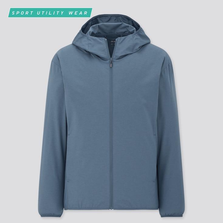 Men Pocketable Uv Protection Parka, Blue, Large