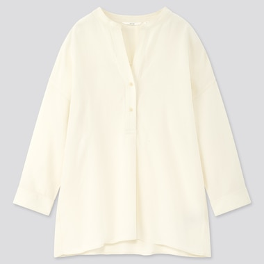Women Linen Blend Skipper Collar 3/4 Sleeve Shirt, Off White, Medium